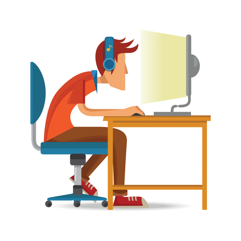cartoon of a male looking at his computer.